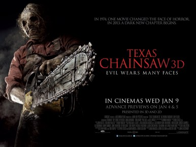 Texas Chainsaw Massacre UK Poster 585x438 Win a horror DVD selection to mark the release of Texas Chainsaw 3D
