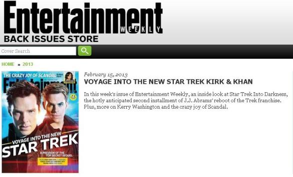 Star Trek EW Cover Chris Pine and Benedict Cumberbatch 585x355 Star Trek Into Darkness – Benedict Cumberbatch's Villain's Identity reportedly Revealed