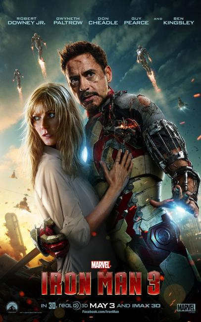 Iron Man 3 Pepper Potts and Tony Stark 406x650 New Iron Man 3 Poster shows beaten up Tony Stark and Pepper Potts