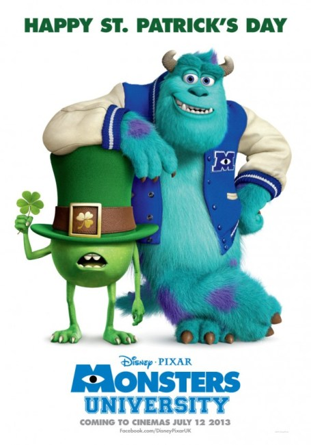 Monsters University Poster St. Patricks Day 455x650 Mike Wazowski sports the Shamrock in New St. Patrick's Day Poster for Monsters University