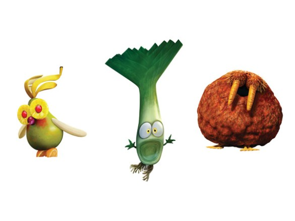 Cloudy with a Chance of Meatballs 2 The Fruit Cockatiel Leek and Meatbalrus 585x438 Meet the Foodimals in New Footage & Images from Cloudy with a Chance of Meatballs 2