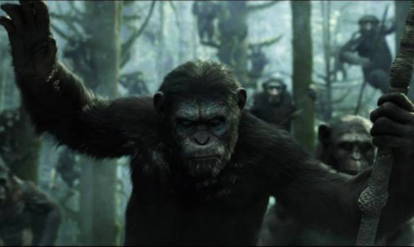 Andy Serkis as Caesar in Dawn of the Planet of the Apes 585x350 First Teaser Trailer for Dawn of the Planet of the Apes