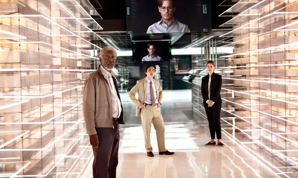 Morgan Freeman Cillian Murphy Johnny Depp and Rebecca Hall in Transcendence 585x350 Second Teaser Video for Transcendence with Johnny Depp, Paul Bettany & Rebecca Hall