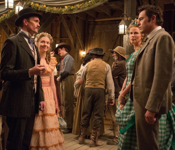 Neil Patrick Harris Amanda Seyfried Charlize Theron and Seth MacFarlane in A Million Ways to Die in the West 585x500 First Look Image: Seth MacFarlane's A Million Ways to Die in the West