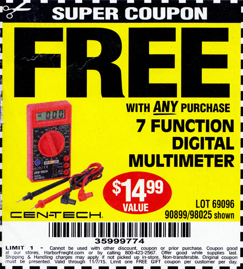 Harbor freight coupons free multimeter - Elevation mask 20 coupon code - garage coupons printable