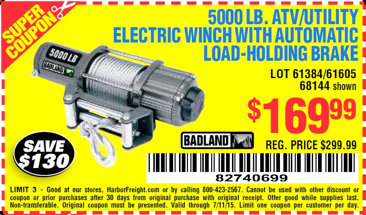 Harbor freight badland 5000 winch coupon - Affinia 50 new york deals