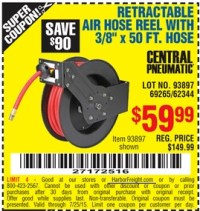 Harbor Freight Coupon RETRACTABLE AIR HOSE REEL WITH 3/8 ...