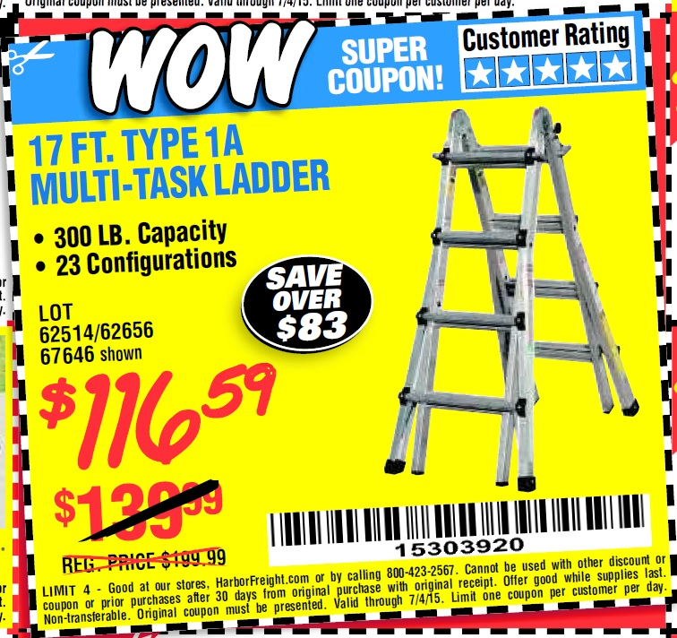 Harbor Freight Coupon 17 Ft Type 1a Multi Task Ladder Lot