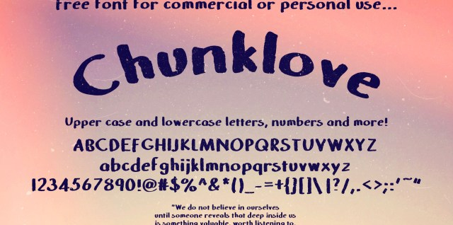 Free download ~ hand-made commercial use font, Chunklove