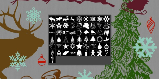 Free download - Photoshop custom shapes for Christmas