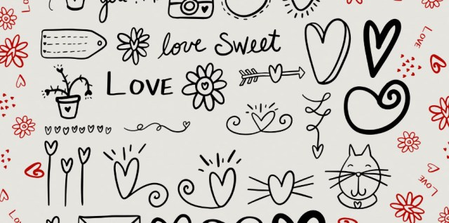 Free download ~ love doodles photoshop brushes ~ courtesy of hgdesigns.co