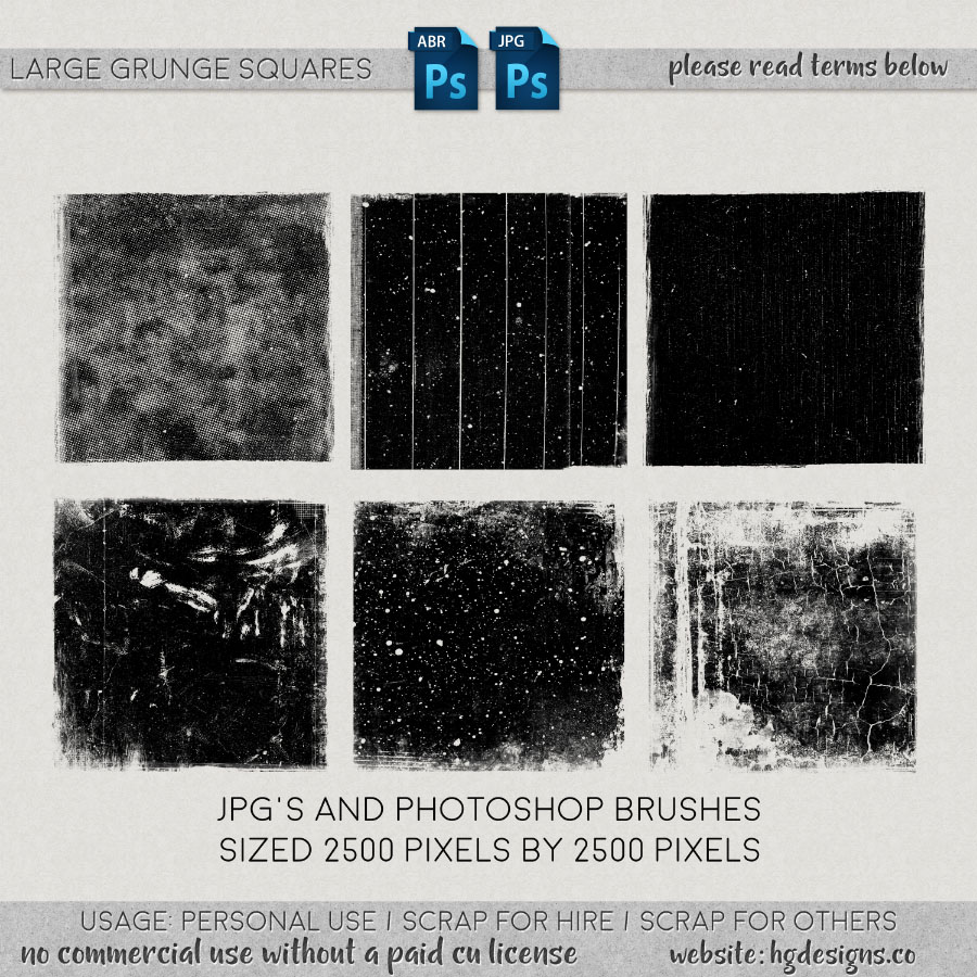 Free download ~ large grunge squares photoshop brushes plus jpg images
