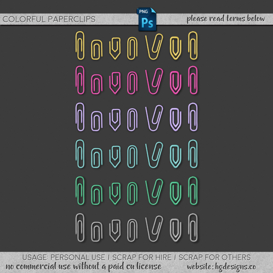 free download ~ colorful paper clips in png format