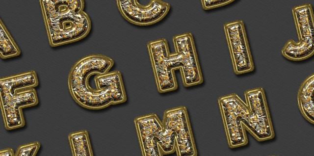 Free download ~ chunky gold alphabet and numbers, commercial use ok, png format at 300dpi