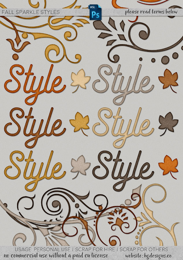 freebie: fall sparkle photoshop layer styles
