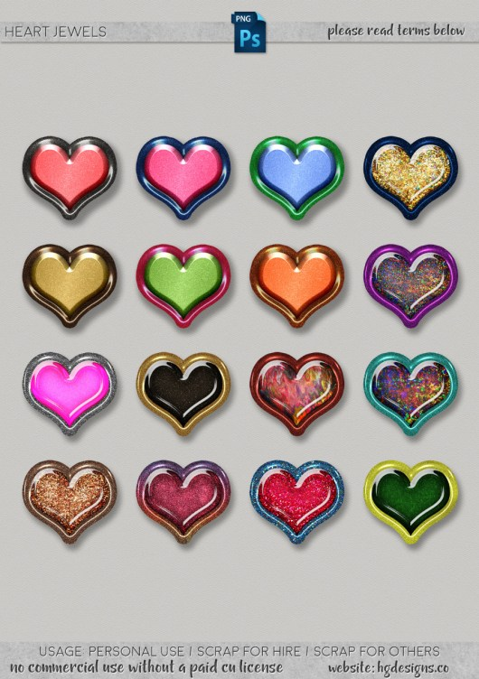 Free download ~ heart jewels in png format at 300dpi