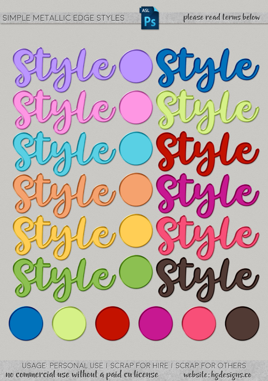 freebie: simple metallic edge photoshop layer styles