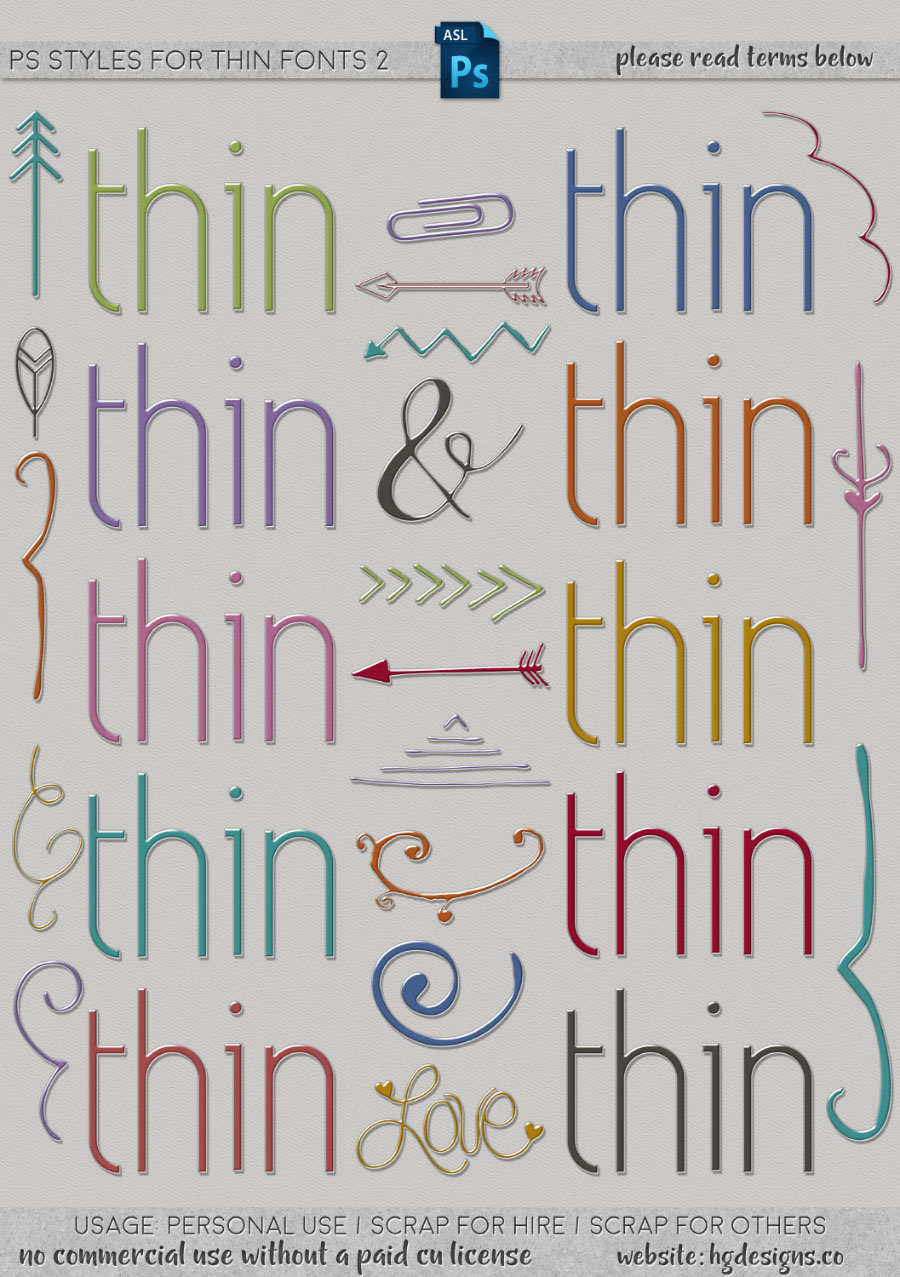 freebie: photoshop layer styles for thin fonts set #2