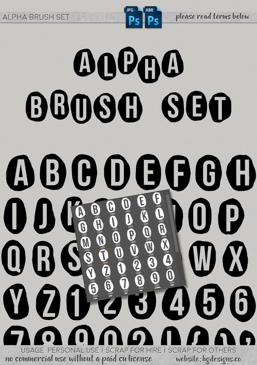 freebie: alphabet photoshop brushes