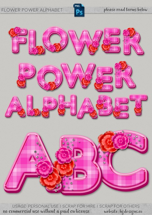Free download ~ Flower Power alphabet in png format, 300dpi