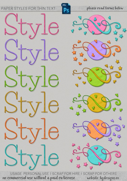 Free download ~ paper Photoshop layer styles for thin text from www.hgdesigns.co