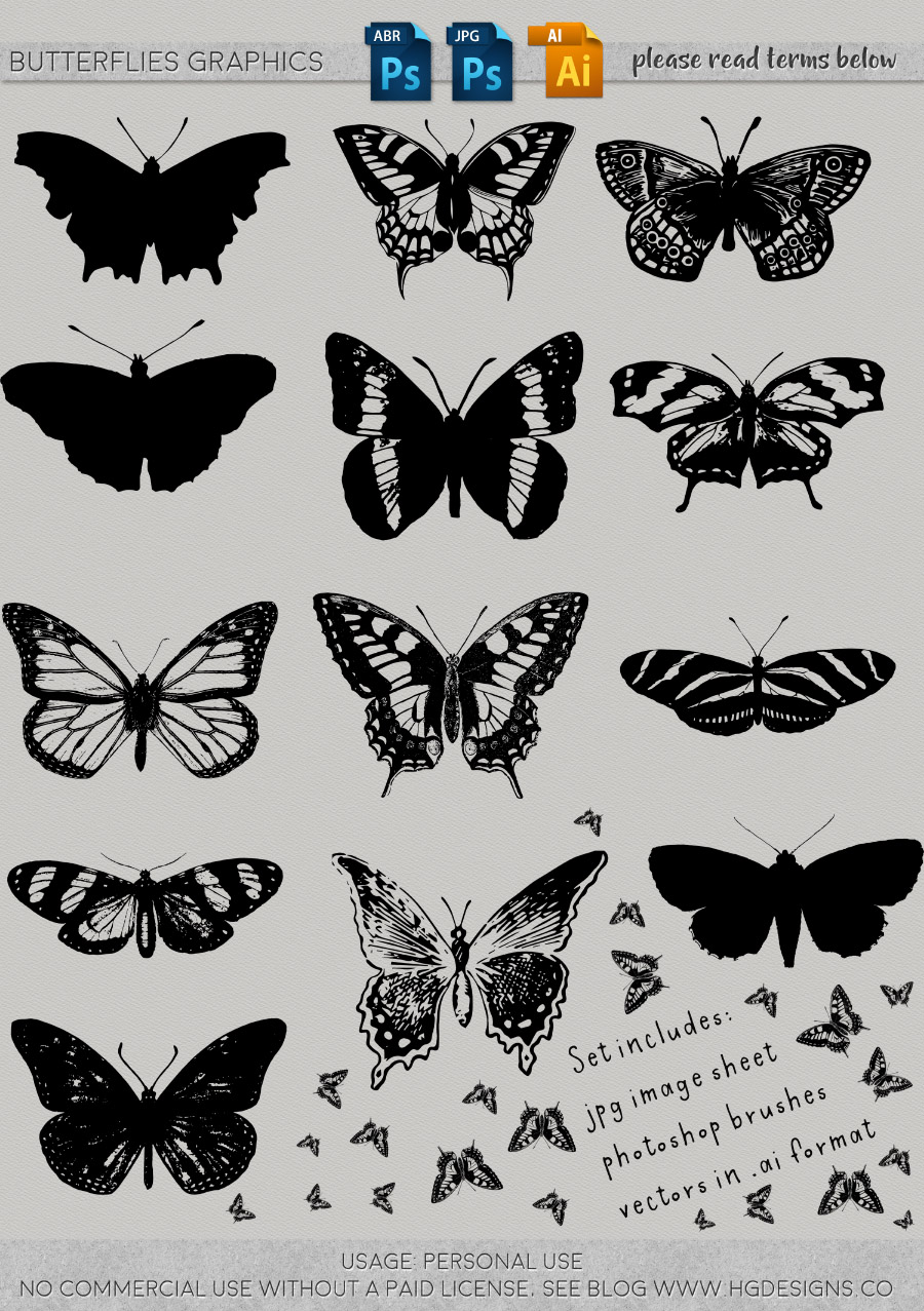 freebie: butterfly graphics and photoshop brushes