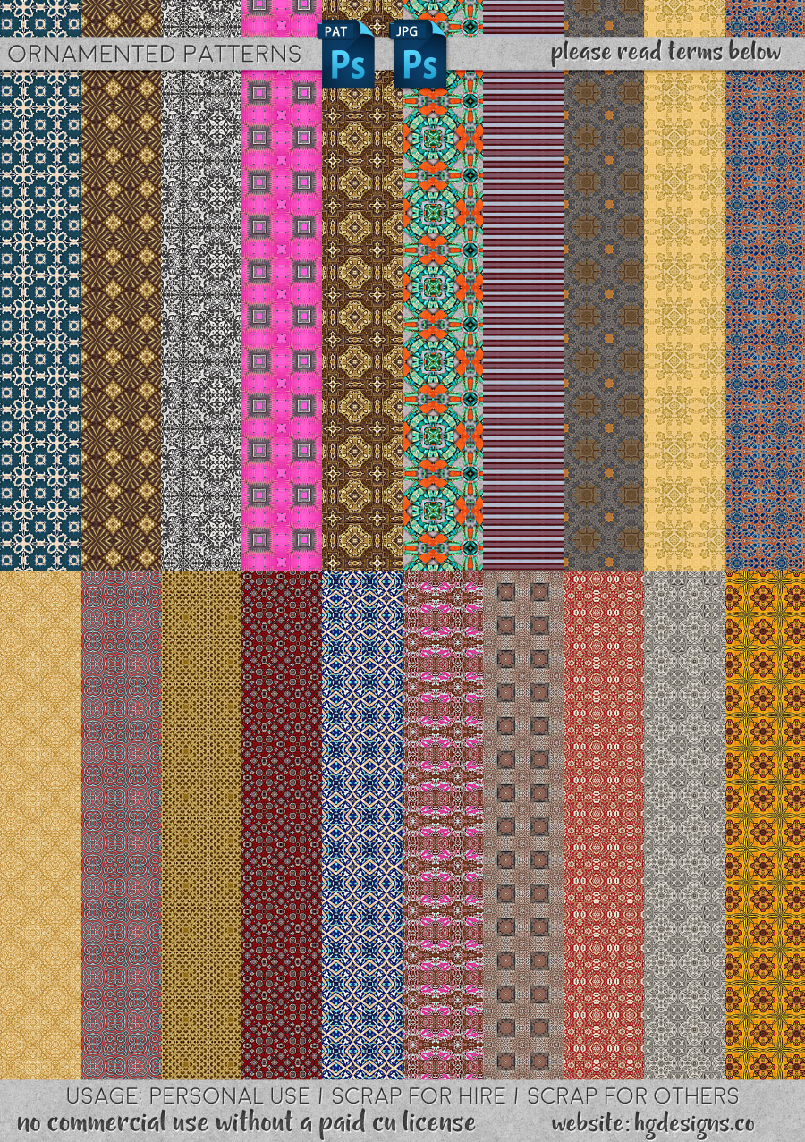 freebie: ornamented seamless tiling patterns