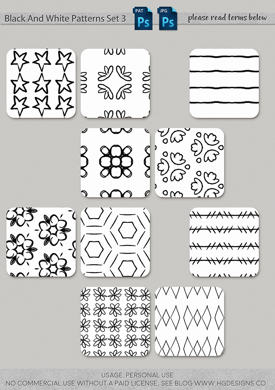 freebie: black and white seamless patterns