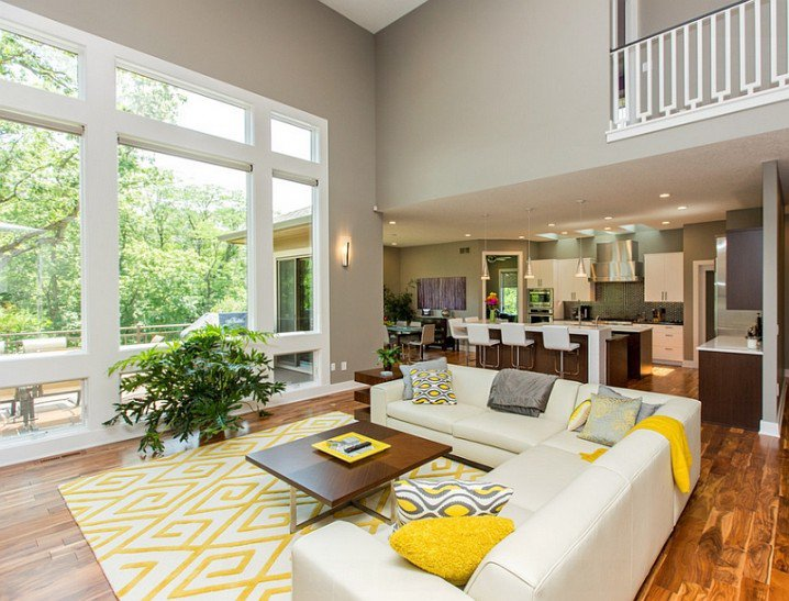 15 Fascinating Grey And Yellow Living Room Designs - yellow and grey living room