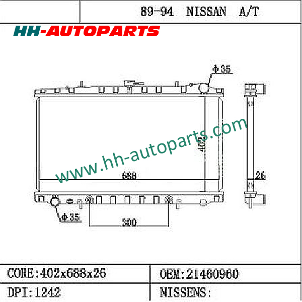 21460960 Nissan Radiator / DPI1242 with one year warranty
