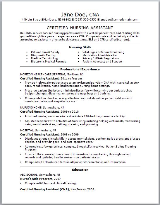 best cna resume samples