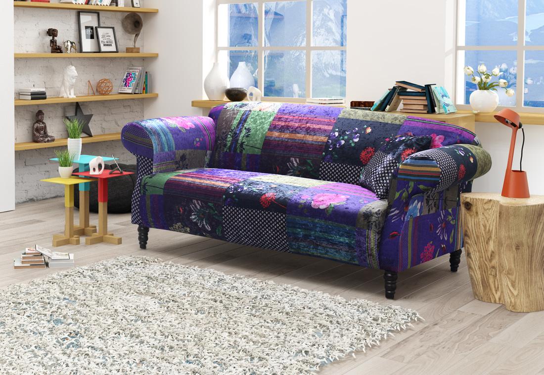 Details about shout sofa maxi patchwork ls22031 the anna shout patchwork fabric designed sofa