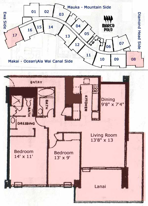 Unit#1008, Marco Polo 2 Bedroom, 2 Baths - HIcondos