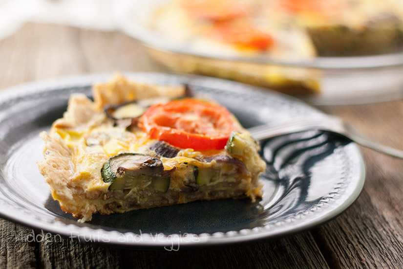Veggie Quiche with Whole Cracker Crust