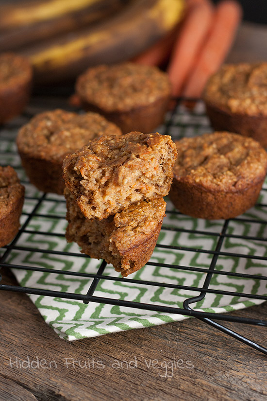 Banana Carrot Muffins from @Hiddenfruitnveg