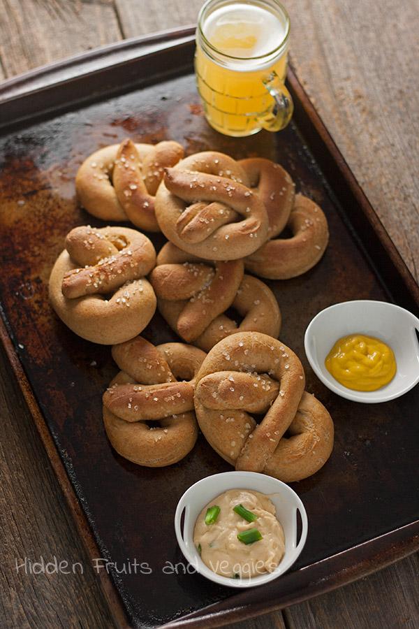 Whole Wheat Soft Pretzels @hiddenfruitnveg