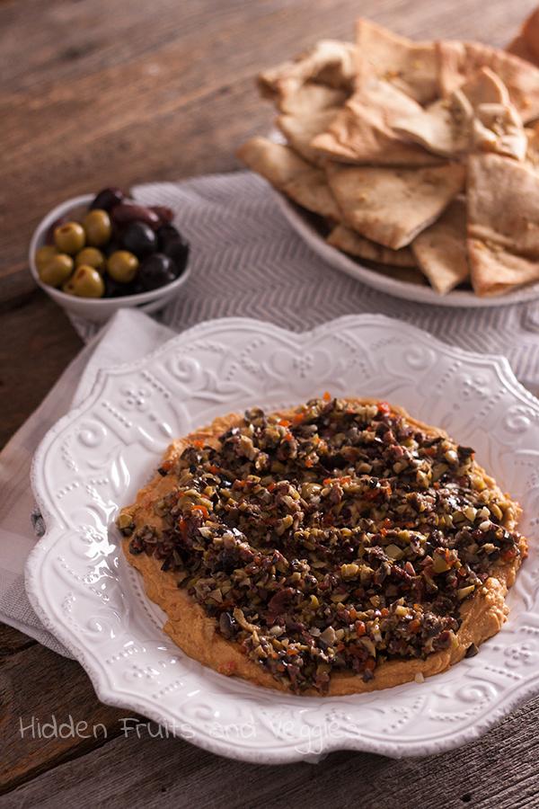Olive Tapenade and Red Pepper Hummus Dip @hiddenfruitnveg