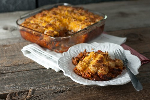 Sloppy Joe Tater Tot Casserole (Vegetarian) @hiddenfruitnveg