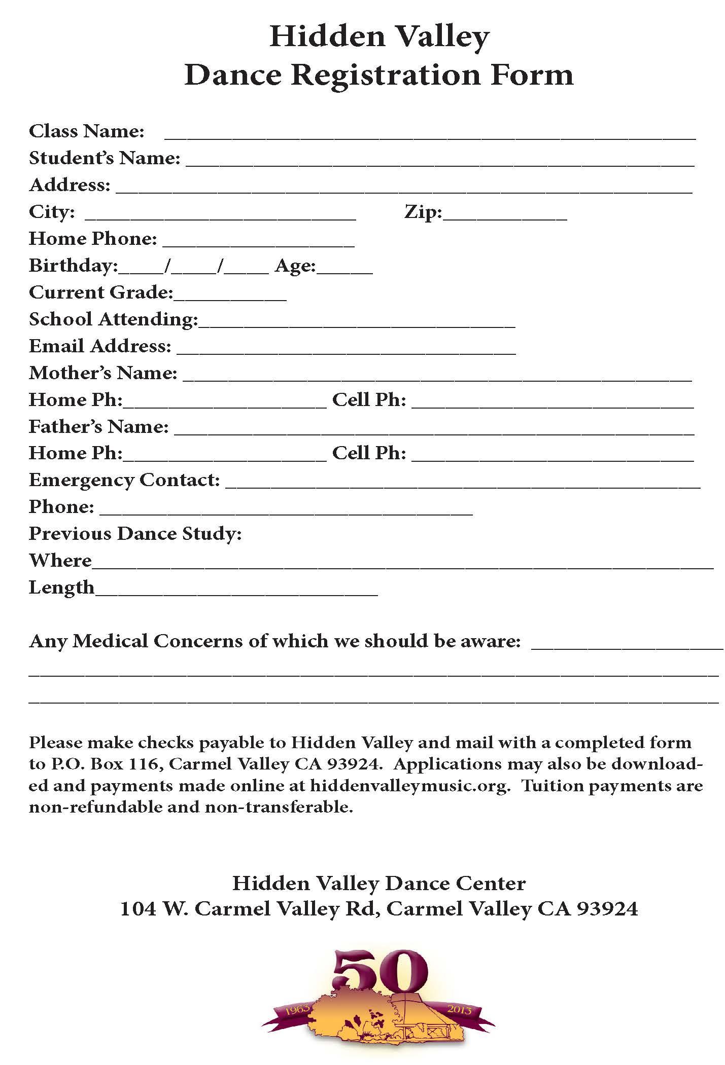 Dance Registration Form (Hidden Valley Music Seminars, an Institute