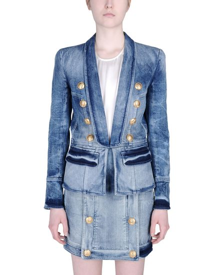 balmain denim suit
