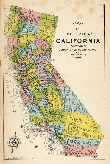 Map of California during the Gold Rush