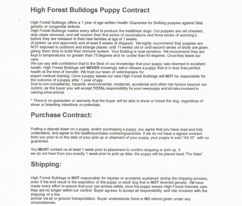 puppy contract - Apmayssconstruction