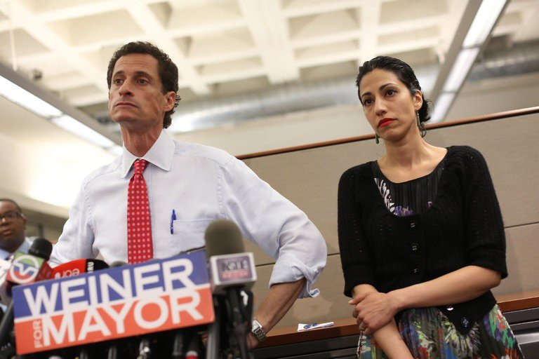 Anthony Weiner and his wife Huma Abedin