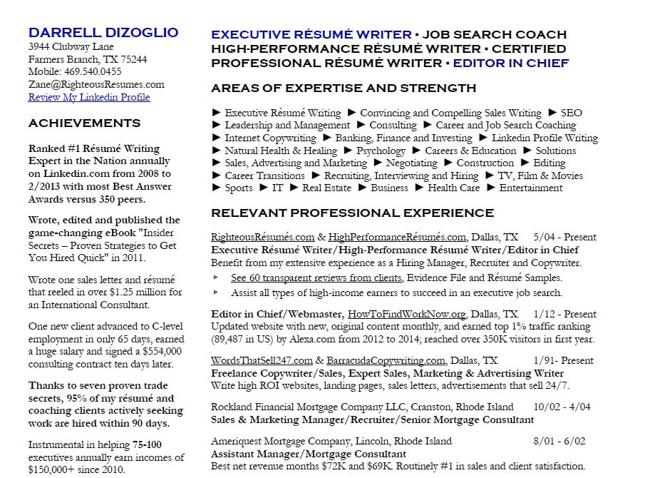 the resume experts dallas