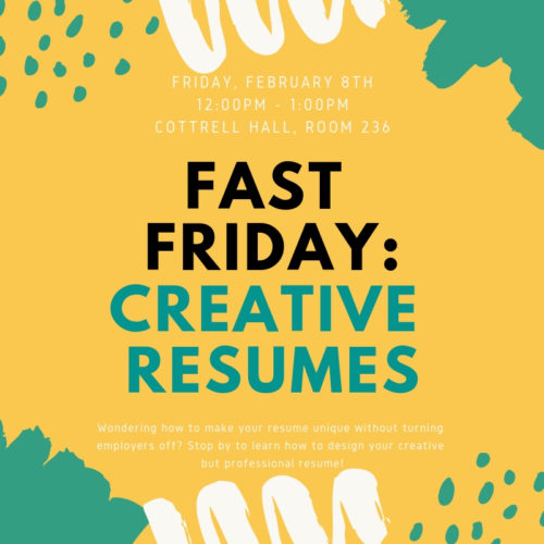 Fast Friday Creative Resume Workshop High Point University High