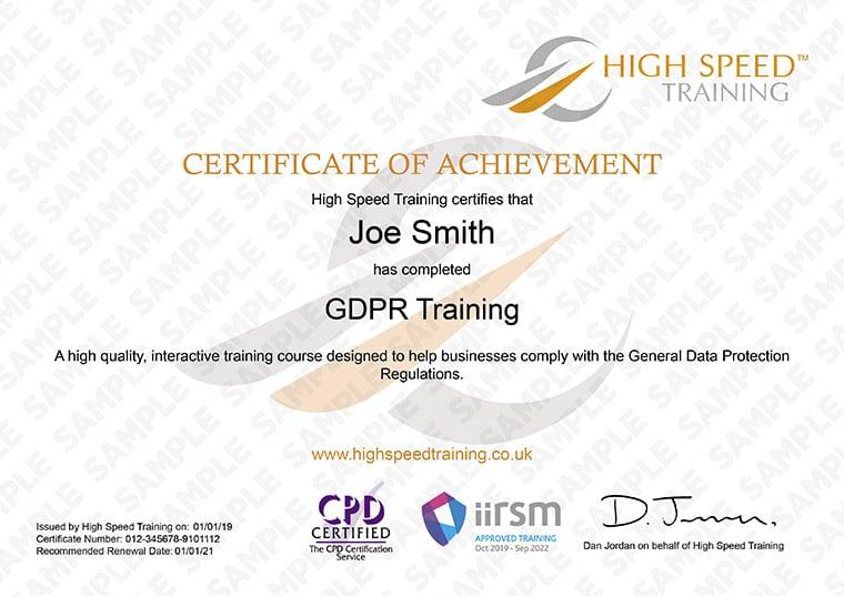 GDPR Online Training Course High Speed Training