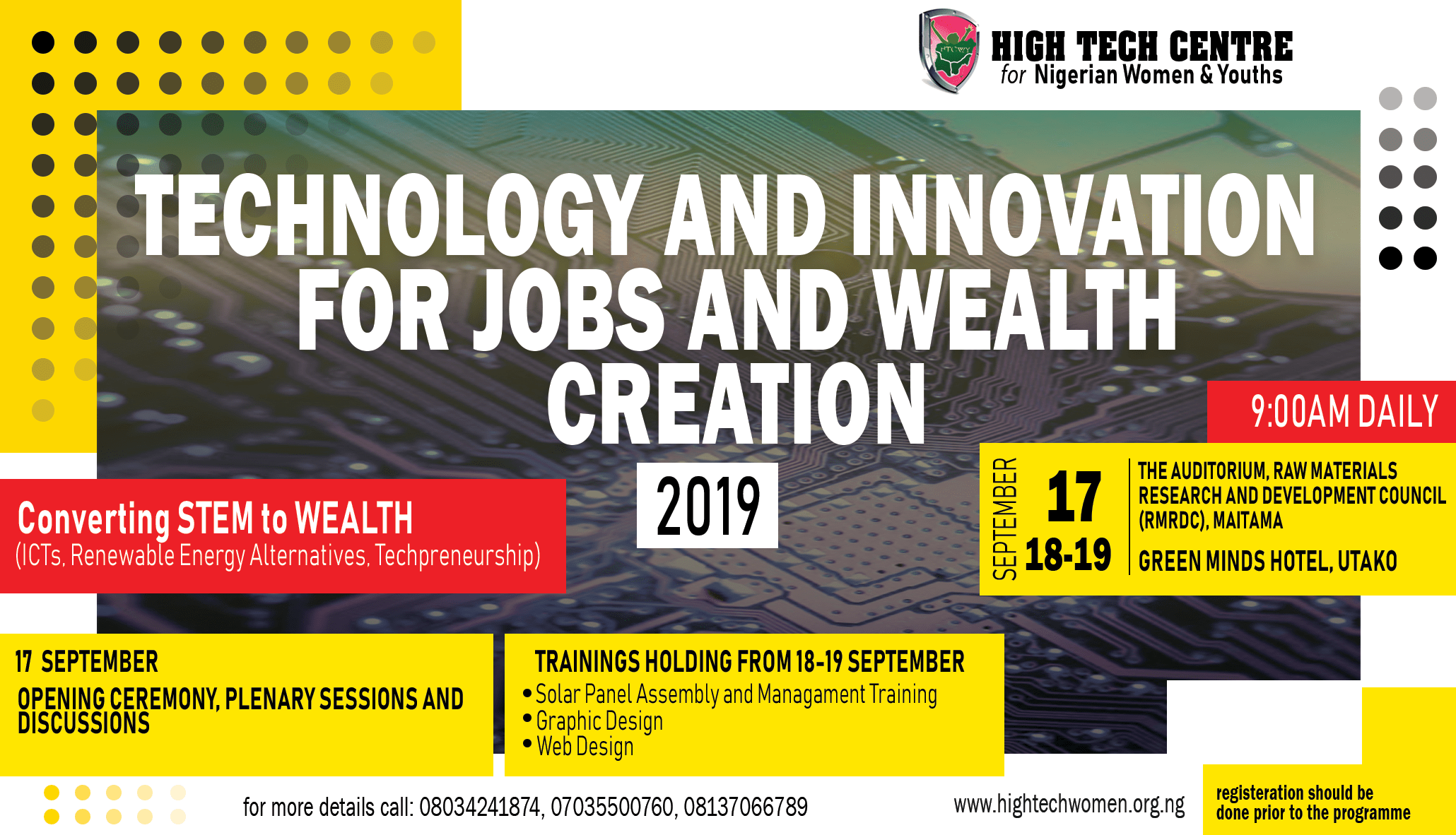 TECHNOLOGY AND INNOVATION FOR JOBS AND WEALTH CREATION 2019