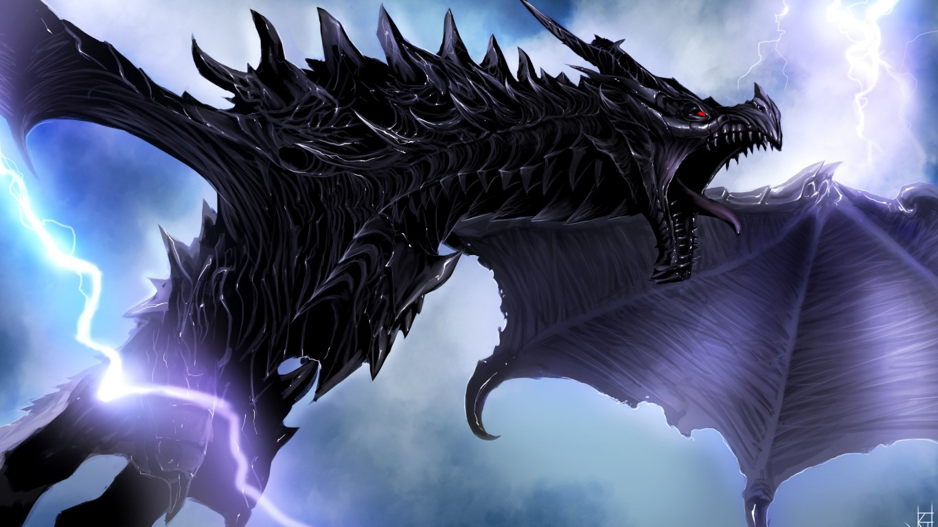 Anime Girl Epic Wallpapers Dragon And Lightning Hd Wallpaper