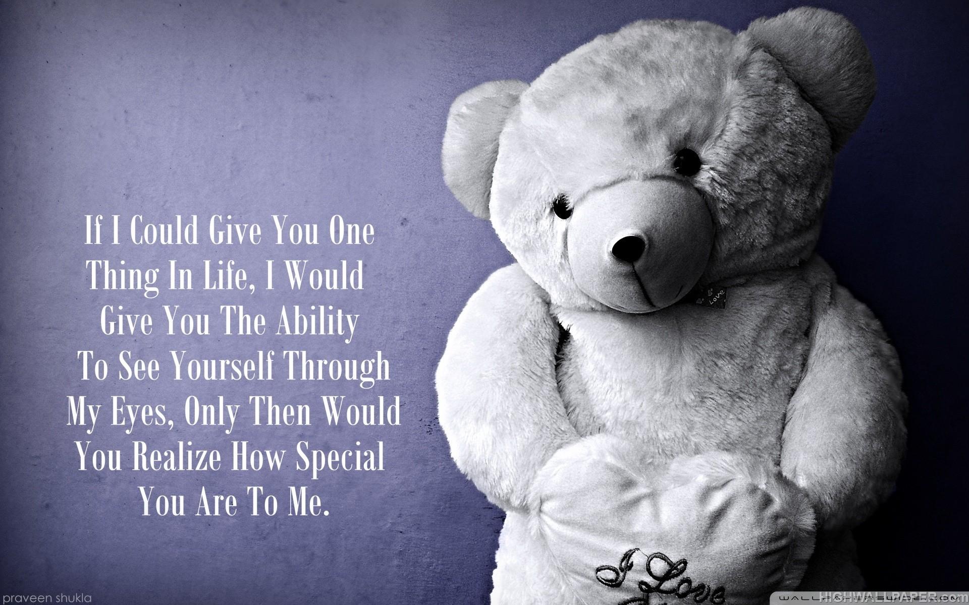Cute Sad Baby Girl Wallpaper Love Teddy Bear Quote Hd Wallpaper