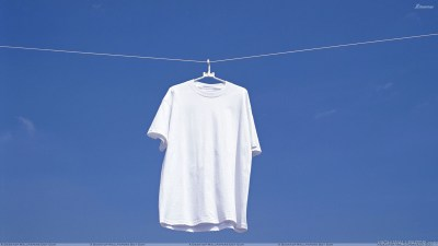 White T Shirt Hanging N Blue Background HD Wallpaper